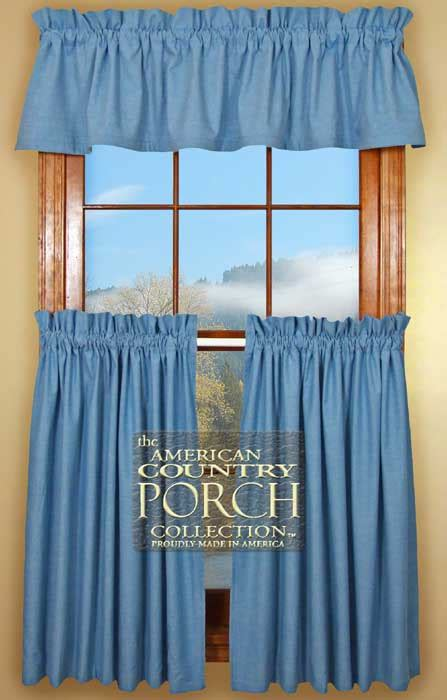 solid chambray blue curtain valances