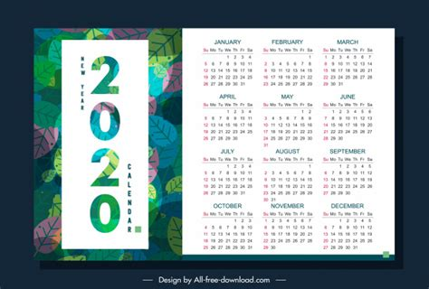 calendar template nature theme colorful leaves decor vector