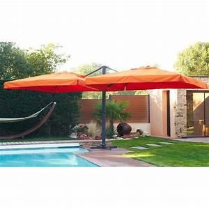 Grand Parasol Rectangulaire : parasol deport double orange achat vente parasol ombrage parasols soldes d t cdiscount ~ Teatrodelosmanantiales.com Idées de Décoration