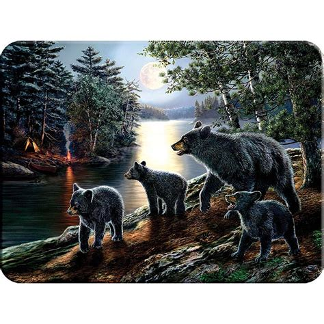 black bear tempered glass cutting board cabin place
