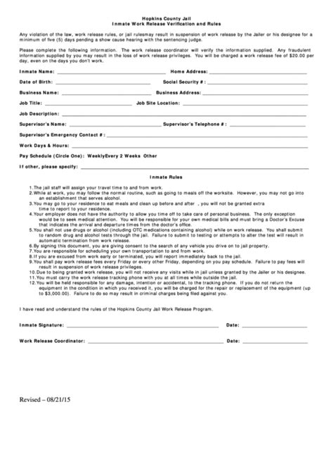 inmate work release form printable