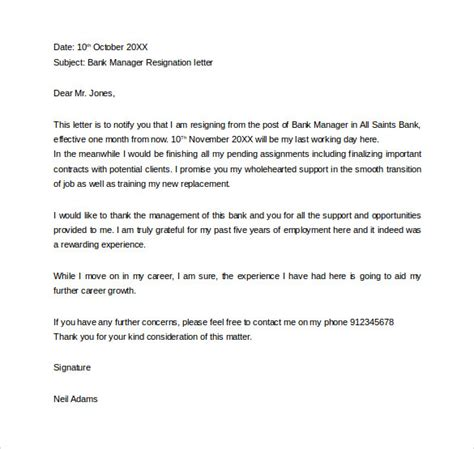formal resignation letters templates   word