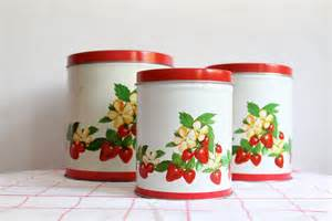 tin kitchen canisters vintage tin strawberry kitchen canisters by bluerememberedhills