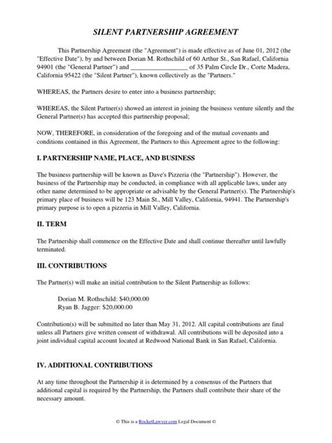 silent partnership agreement general partnership