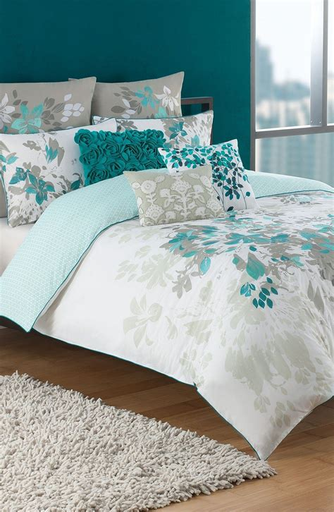 Turquoise And White Duvet Cover by This Teal White And Grey Bedding Set Teal Home