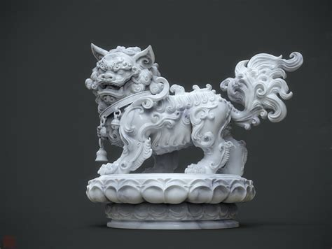 zhelongs art chinese lion statue marble version  wip