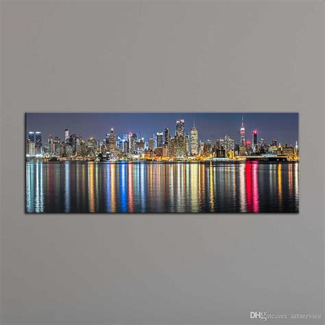 2018 home decoration painting wall art prints of new york city night view panoramic canvas