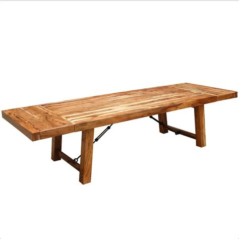 Rustic Wood Large Extendable Dining Table Traditional