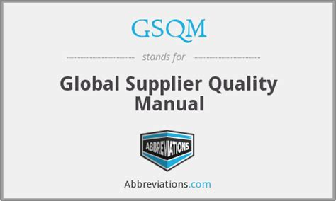 Gsqm  Global Supplier Quality Manual