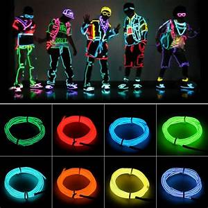 Neon Light Glow El Wire Led Strip Tube Car Dance Party Bar