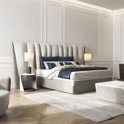 Leather Bed by Exclusive Modern Italian Upholstered Leather Bed