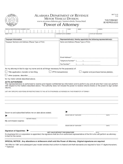 alabama power  attorney form  templates