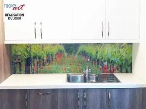 Crédence Cuisine En Verre : cr dence de cuisine en verre imprim vignoble ~ Premium-room.com Idées de Décoration