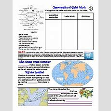 Winds And Ocean Surface Currents As They Relate To Climate & Weather Worksheets