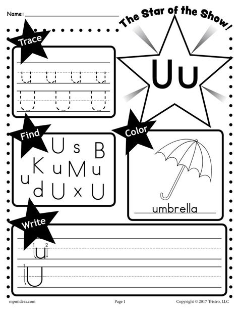 free letter u worksheet tracing coloring writing more