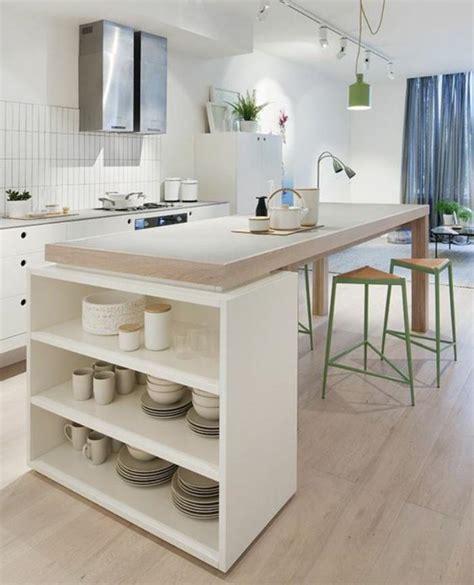 cuisine ouverte avec comptoir la cuisine blanche et bois en 102 photos inspirantes
