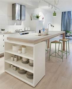 Cuisine Blanche Plan De Travail Bois : la cuisine blanche et bois en 102 photos inspirantes ~ Preciouscoupons.com Idées de Décoration