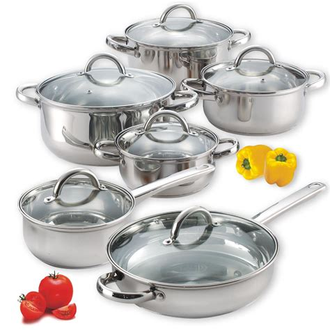 stainless steel cook cookware piece cooking pans pots sets kitchen glass