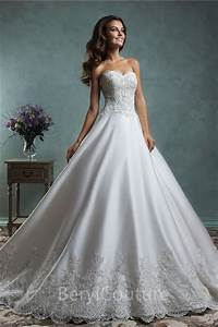 ball gown satin lace applique wedding dress off the With satin lace wedding dress