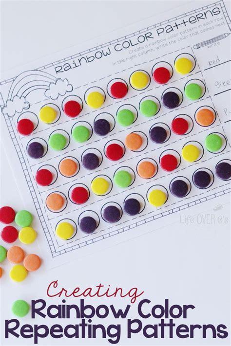 rainbow patterns activity free printable math preschool