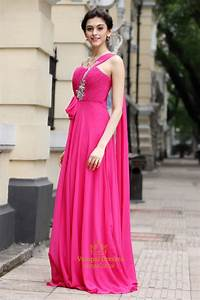 Hot Pink One Shoulder Bridesmaid Dresses,One Strap Fuschia ...