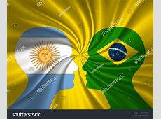 Human Head And Brazil Flag, Argentina Flag Stock Photo