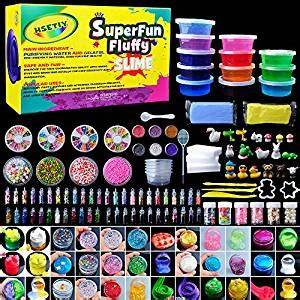 HSETIY Super Slime Kit Supplies-12 Crystal Clear Slimes ...