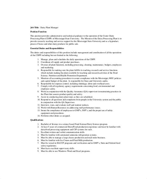 plant manager job description sle 8 exles in word