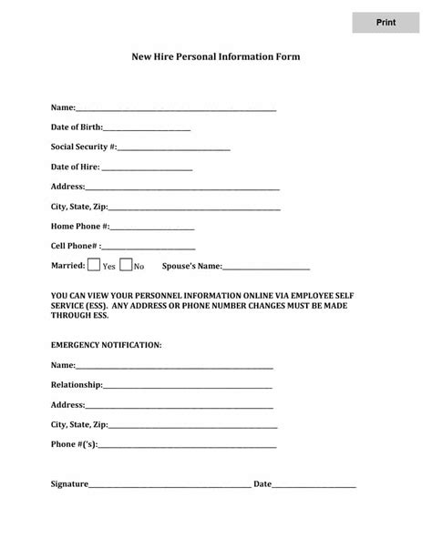 16079 employee information form 47 printable employee information forms personnel
