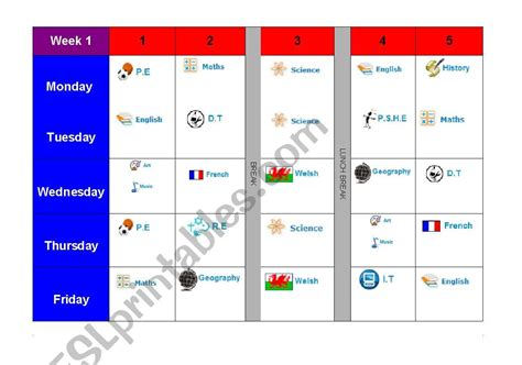 english worksheets blank high school timetable  images