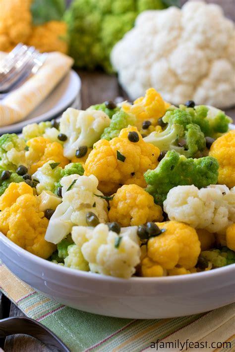 colored cauliflower tri color cauliflower salad a family feast