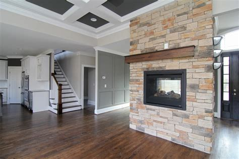 Two sided fireplace   Transitional   Living Room   raleigh