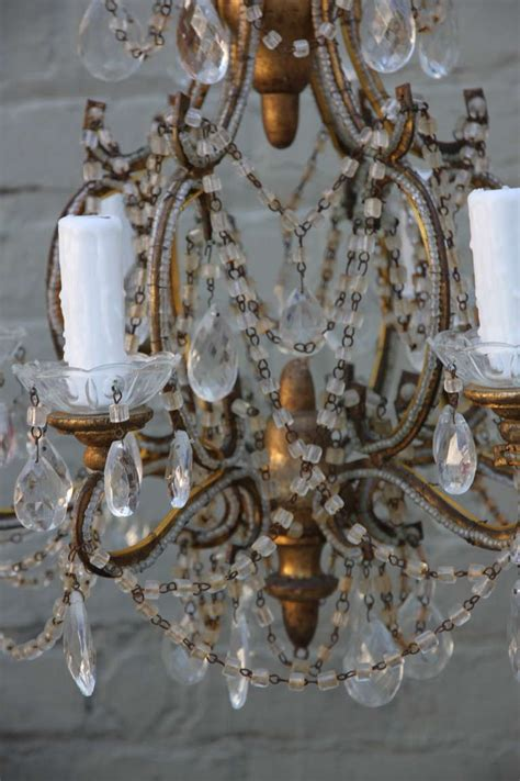 Beaded Chandeliers For Sale by Six Light Italian Macaroni Beaded Chandelier For Sale At