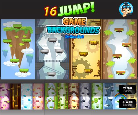 jump game backgrounds set  unique levels game art