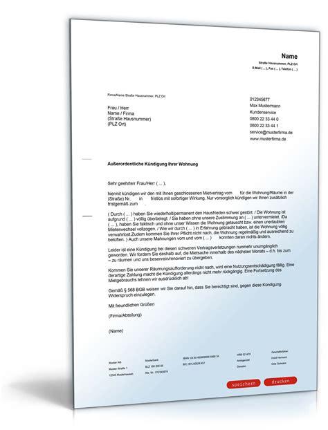 fristlose kündigung mietvertrag muster fristlose k 252 ndigung durch vermieter muster zum