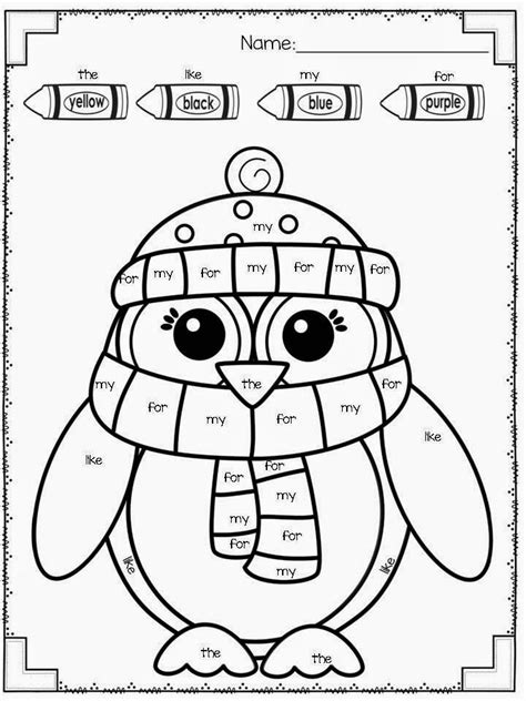 freebie winter color by sight word kindergarten tk