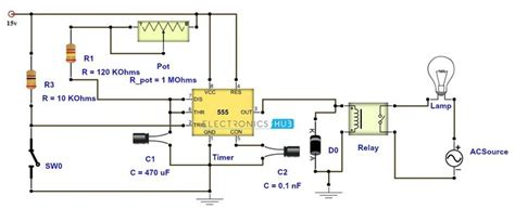 adjustable timer circuit diagram  relay output