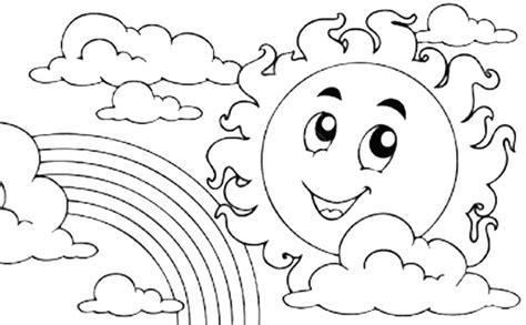 gambar mewarnai gambar pemandangan pelangi untuk anak