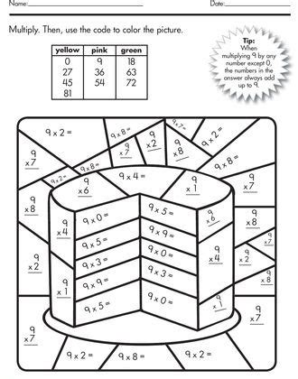3rd grade math worksheet color by number color by number multiplication best coloring pages for
