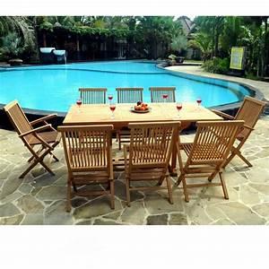 Salon Jardin Teck : ensemble lombok 8 places teck brut de jardin table ~ Melissatoandfro.com Idées de Décoration