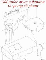Tailor Coloring Elephant Banana Pdf Give sketch template