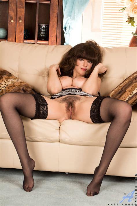 Brunette Milf In Tight Skirt And Stockings Spreading Hairy