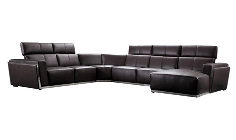 modern dark brown genuine leather sectional sofa