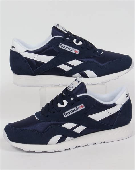 Reebok Classic Nylon Trainers Navy/White,shoes,mens