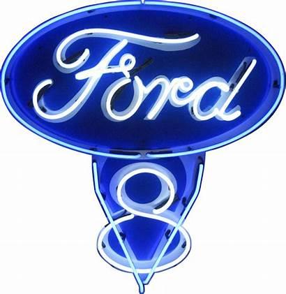 Ford Neon V8 Signs Transparent Automotive Sticker