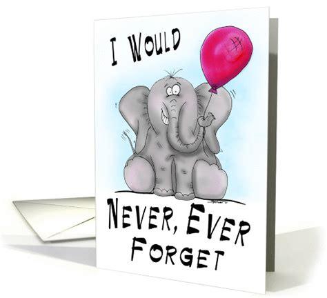 forget cartoon elephant birthday card