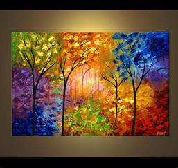 landscape painting bold colorful blooming trees 4218
