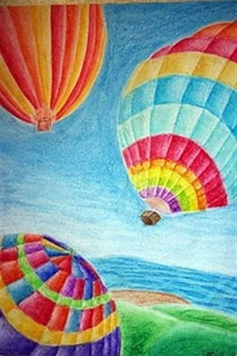 hot air balloon colored pencil art ideas pinterest
