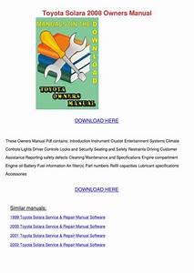 Toyota Solara 2008 Owners Manual By Willardthao