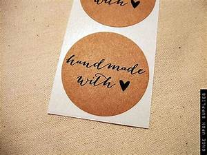 30 15quot handmade with love heart stickers envelope With kraft circle labels